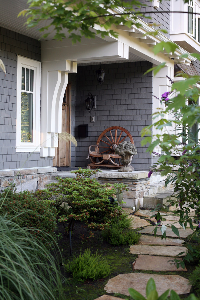 Certainteed Siding Colors Entry Traditional with Awning Front Door Garden Statue Gray Exterior