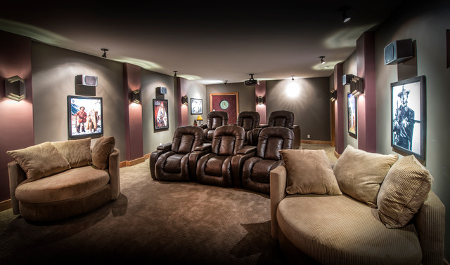 chair and a half recliner Home Theater Craftsman with brown leather recliners chair and a half gray walls