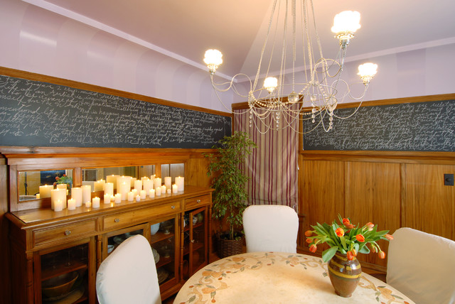 Chair and a Half Slipcover Dining Room Eclectic with Artistic Walls Ceiling Candle Ceramic Table Chair Rail Chalkboard