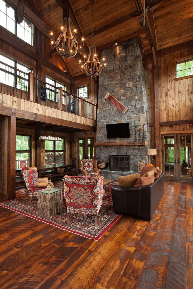 Chair Rail Molding Living Room Rustic with Board and Batten Siding Hybrid Lake House