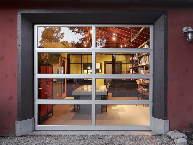 Chamberlain Garage Door Home Office Industrial with Concrete Table Conference Room Conference Table Garage Door Gravel