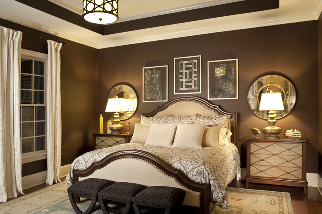 cheap nightstands Bedroom Transitional with accessories Art bedding benches browns and golds chests chocolate