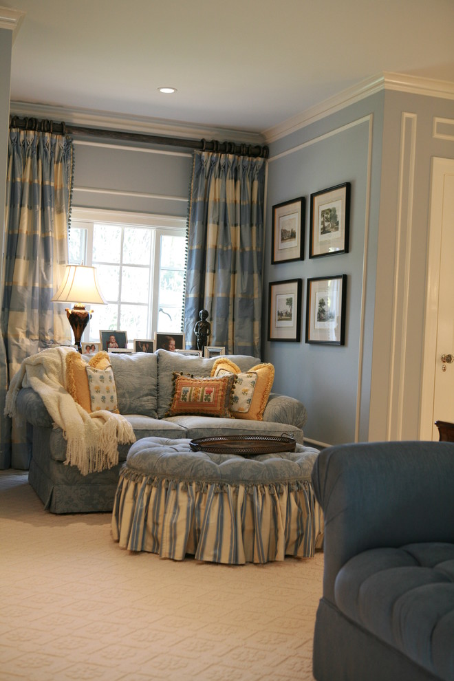 Chenille Sofa Bedroom Traditional with Blue Walls Carpet Texture Ceiling Lighting Chenille