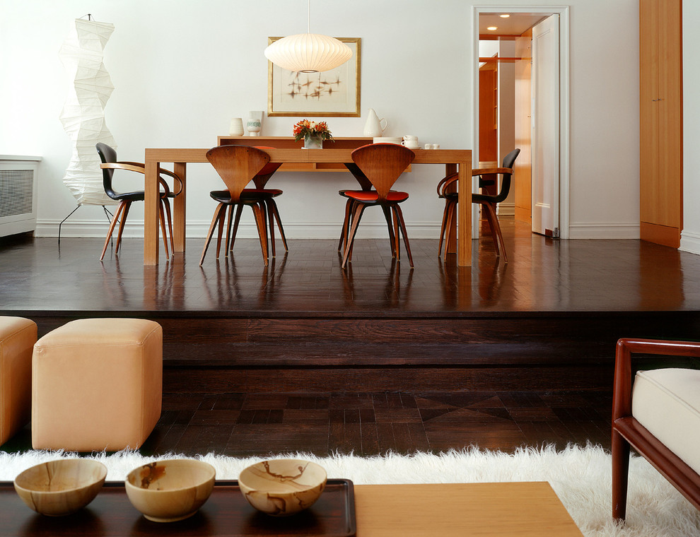 cherner chair dining room with armchair cherner dark stained floor flokati lamp