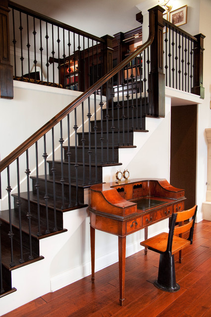 Chicago Metallic Bakeware Staircase Victorian with Antique Desk Built in Chair Dark Wood Staircase Metal Banister