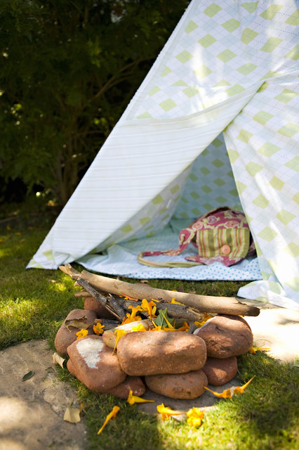 Childrens Teepee Landscape Eclectic with Grass Kids Lawn Outdoor Fire Pit Teepee Tent Tipi