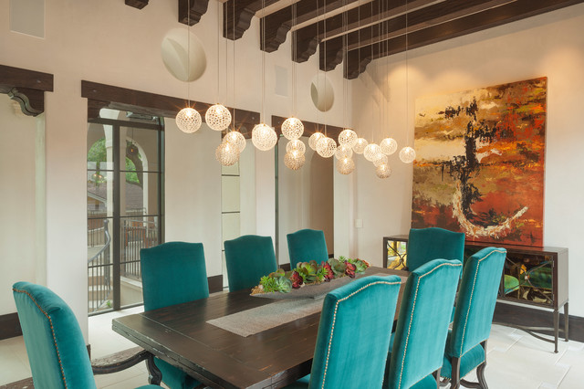 Chinese Chippendale Chair Dining Room Mediterranean with Beamed Ceiling Chandelier Dark Wood Beams Dining Table Light