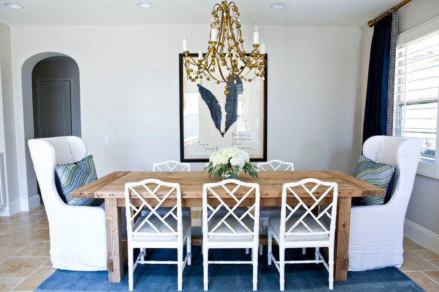 Chinese Chippendale Chair Dining Room Transitional with Arched Doorway Banded Drapes Blue Drapes Chinese Chippendale Chairs