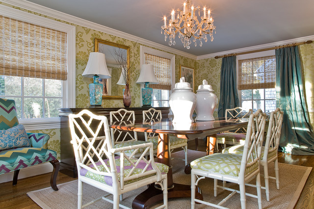 Chinese Chippendale Chair Dining Room Transitional with Area Rug Bamboo Centerpiece Crown Molding Curtains Dining Table