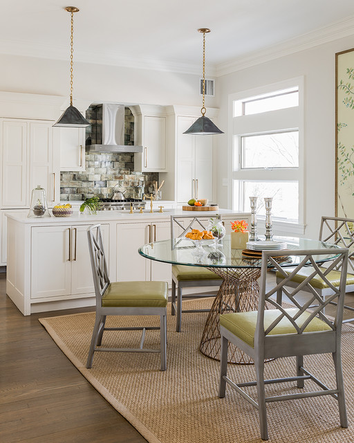Chinese Chippendale Chair Dining Room Transitional with Brass Bar Pulls Brushed Steel Finished Chairs Chartreuse Green