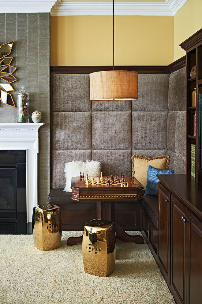 Chinese Garden Stool Family Room Contemporary with Banquette Built in Bench Built in Cabinets Chess