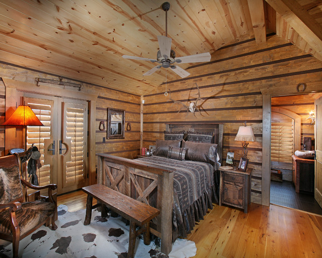 Chinking Bedroom Rustic with Antlers Cabin Ceiling Fan Lodge Rustic Sloped Ceiling Vaulted