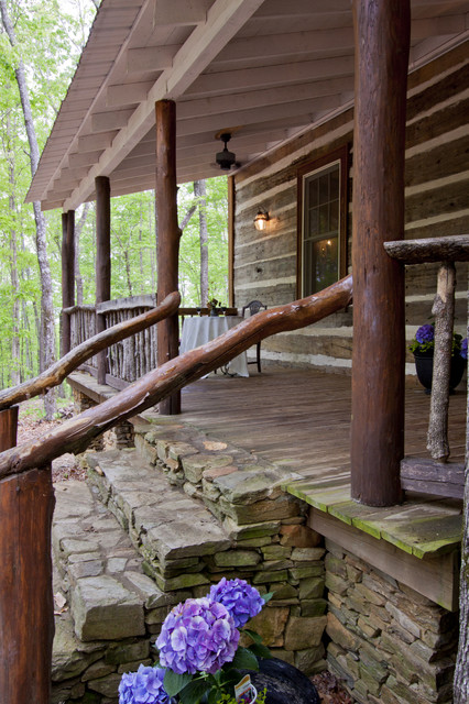 Chinking Porch Rustic with Cottage Covered Porch Log Porch Rock Rustic Rustic Porch