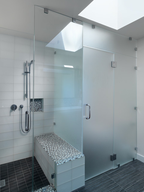Church Toilet Seats Bathroom Contemporary with Black Frosted Glass Glass Tile Modern Mosaic Tile Shower