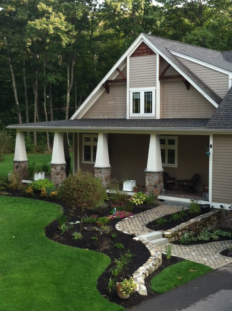 Clapboard Siding Exterior Craftsman with Clapboard Siding Curb Appeal Elephant Columns Fieldstone