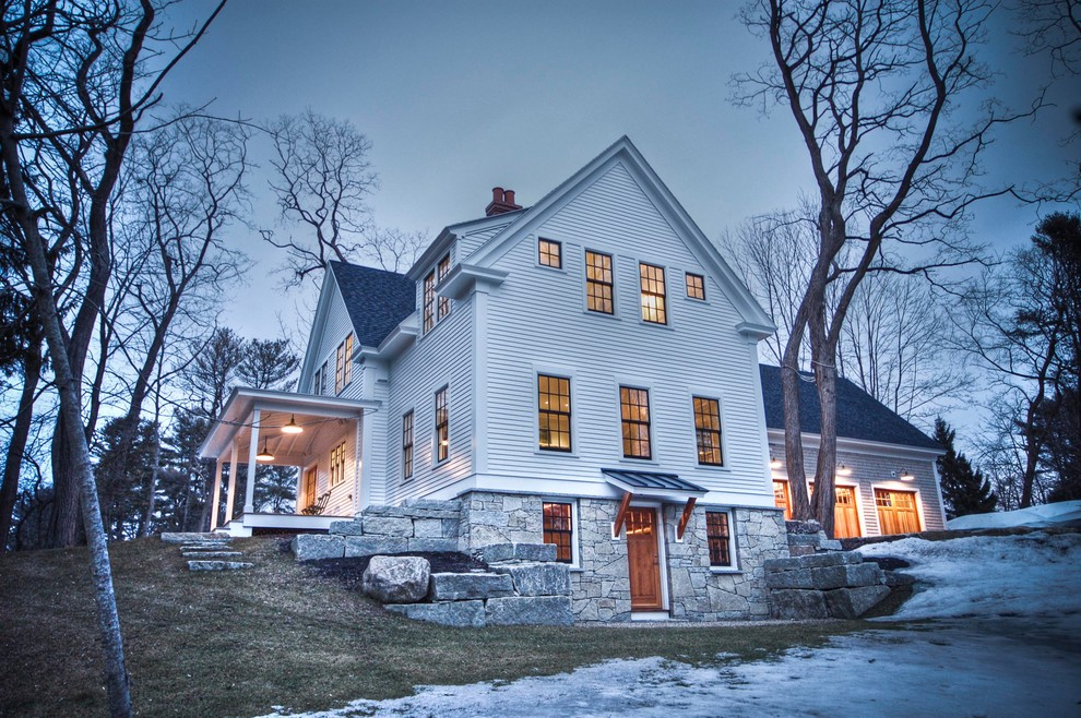 Clapboard Siding Exterior Traditional with Barn Lights Basement Door Colonial Style Cross