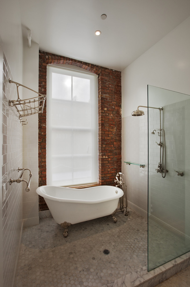 claw foot tub Bathroom Industrial with brick enclosure freestanding glass hex hexagon tile