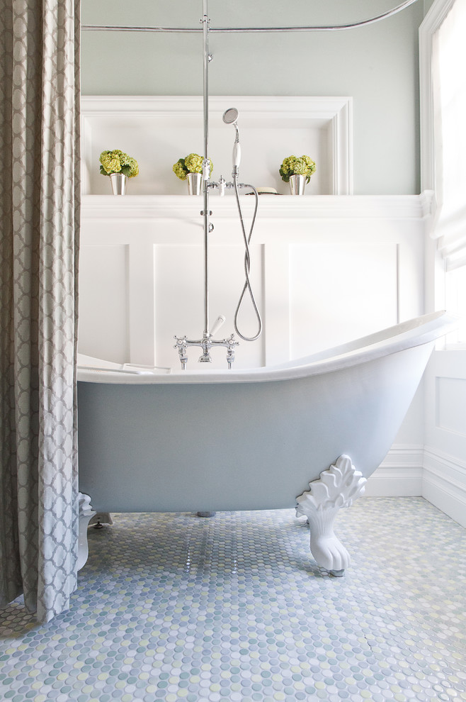 Clawfoot Tub Bathroom Traditional with Baseboards Board and Batten Claw Foot Tub