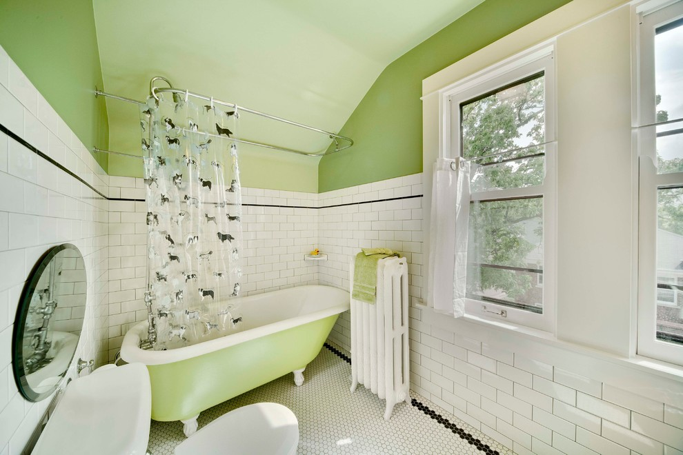 Clawfoot Tub Bathroom Traditional with Claw Foot Tub Green Paint Honeycomb Tile Octagon