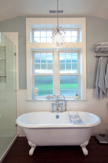 clawfoot tub faucet Bathroom Traditional with bathroom built-in shelves built-in shelves in shower chandelier chrome