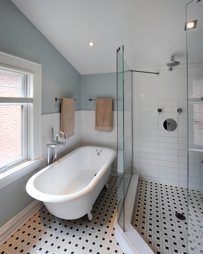 Clawfoot Tub Shower Bathroom Traditional with Basketweave Tile Black and White Black And