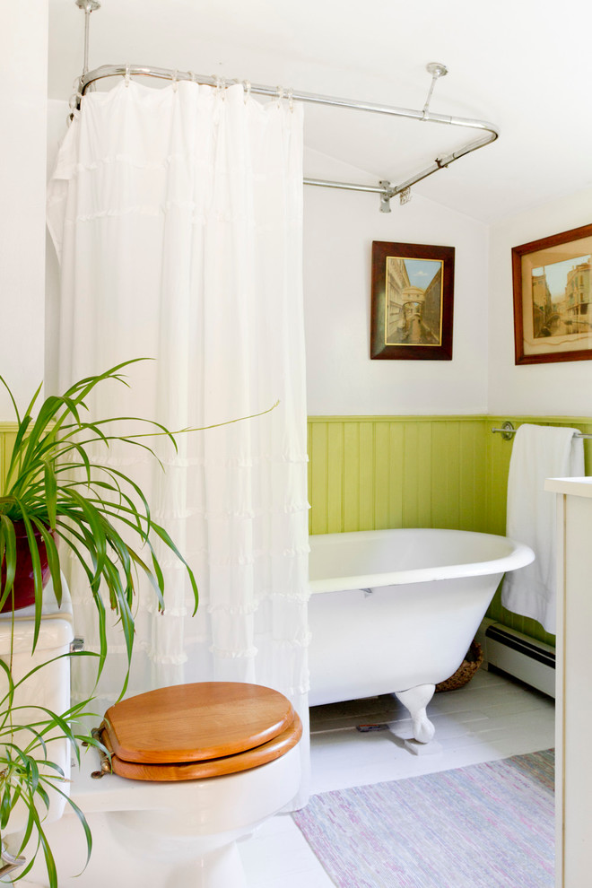 Clawfoot Tub Shower Bathroom Victorian with Bright Green Beadboard Wainscoting Ceiling Mounted Shower
