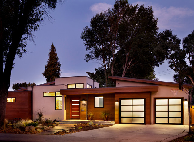 clopay garage doors Exterior Contemporary with basketball clean lines contemporary driveway entrance entry flagstone front