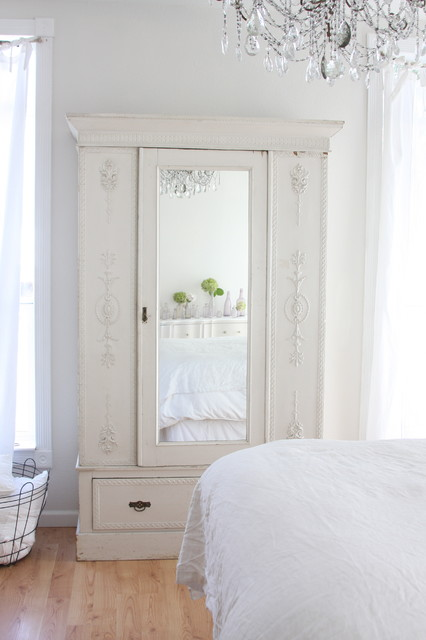 clothing armoire Bedroom Shabby-chic with armoire ceiling lighting chandelier closet laundry hamper pendant lighting