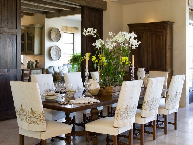 Club Chair Slipcovers Dining Room Mediterranean  With Candlesticks Centerpiece Dark Wood Dining Chairs Flowers Neutral Wood
