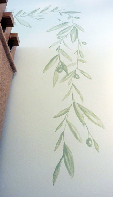 Cocomats Spaces Contemporary with Architectural Elements Decorative Murals Hand Painted Natural Olive Branch Organic3