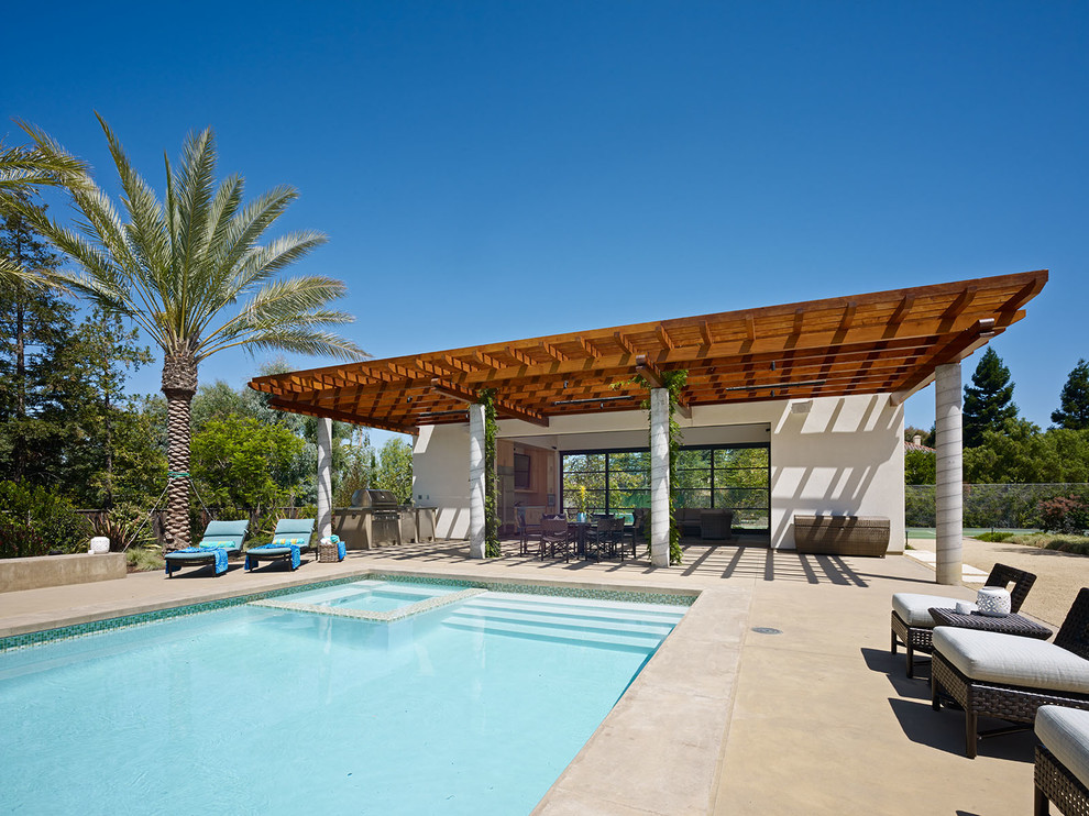 Cody Pools Patio Contemporary with Blue Pool Border Tile Concrete Columns Guest