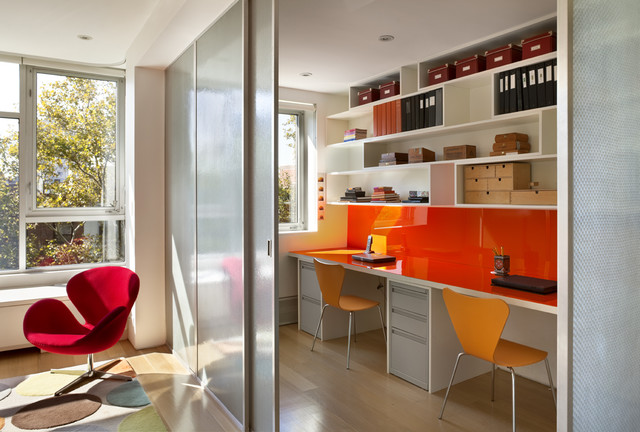 colored plexiglass Home Office Contemporary with aluminum windows desk chairs lounge chair open shelving recessed