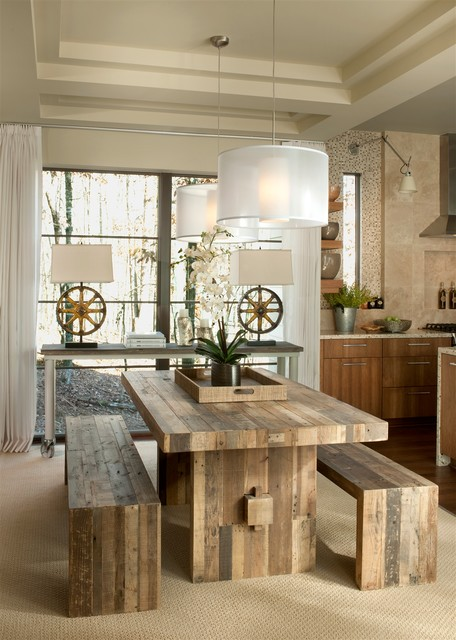 Commercial Picnic Tables Dining Room Transitional with Bench Seat Carpeting Window Treatment Casters Ceiling Chandeliers Coffered