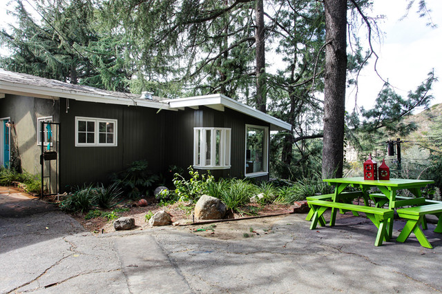 commercial picnic tables Exterior Transitional with asphalt cottage neon green patio furniture picnic table rustic