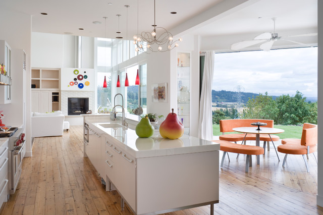 commercial pressure cooker Kitchen Contemporary with banquette breakfast nook ceiling fan ceiling lighting colorful accents