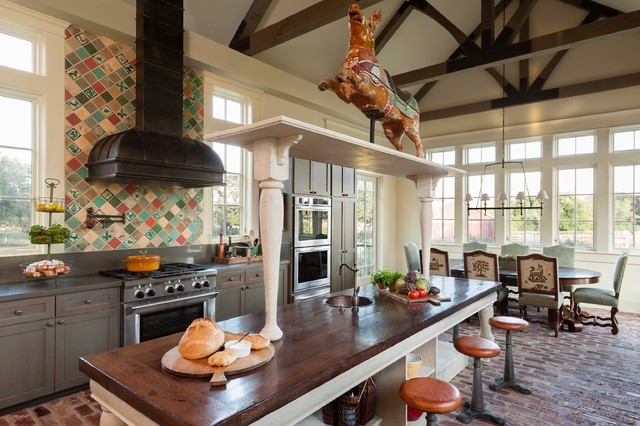 Commercial Pressure Cooker Kitchen Farmhouse with 19th Century Carousel Pig Antique Tile Backless Bar Stools