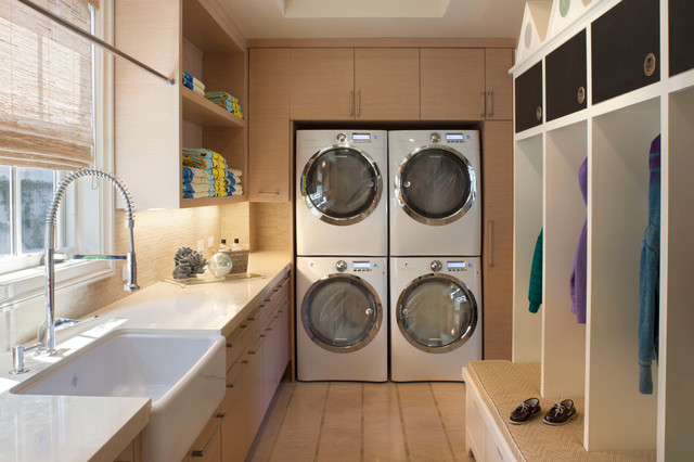 Commercial Pressure Cooker Laundry Room Traditional with Cabinets Closet Entrance Farmhouse Sink Faucet Light Wood Light