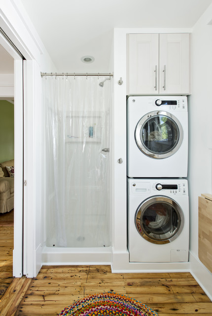 Compact Washer and Dryer Stackable Laundry Room Traditional with Alcove Doorway Dryer Efficiency Laundry Storage Nook Recessed Lighting