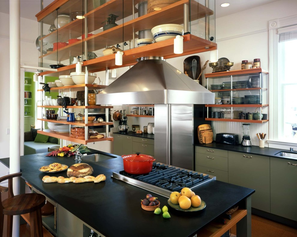 Composite Countertops Kitchen Industrial with Green Cabinets Kitchen Island Kitchen Island With