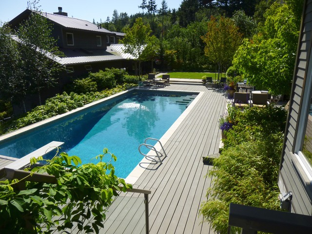 Composite Wood Decking Pool Contemporary with Backyard Deck Diving Boar Evergreens Lounge Chair Metal Roof