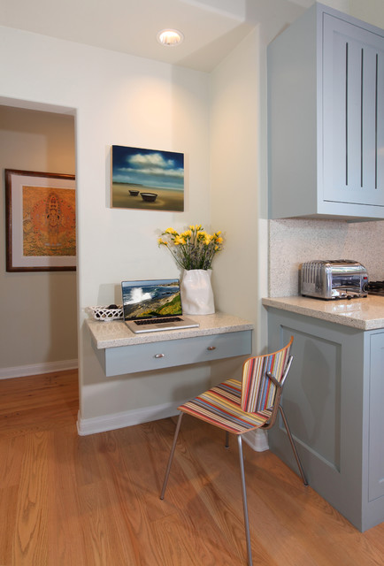 Computer Desk Hutch Kitchen Transitional with Artwork Beachy Blue Contemporary Country Floating Desk Kitchen Recessed
