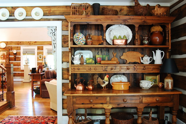 Computer Hutch Dining Room Rustic with Area Rug Baskets Cabin Corner Display Cabinet Earth Tones