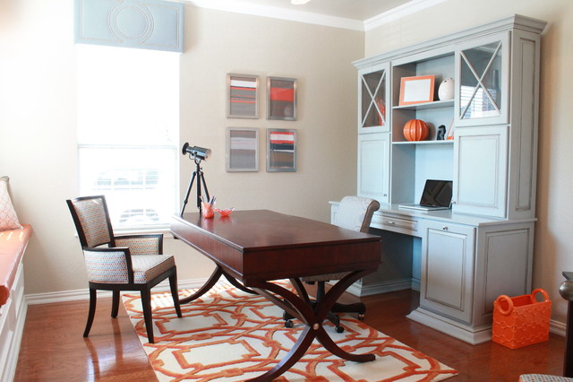 Computer Hutch Home Office Contemporary with Arabesque Rug Blue and Orange Blue Cabinet Desk Orange