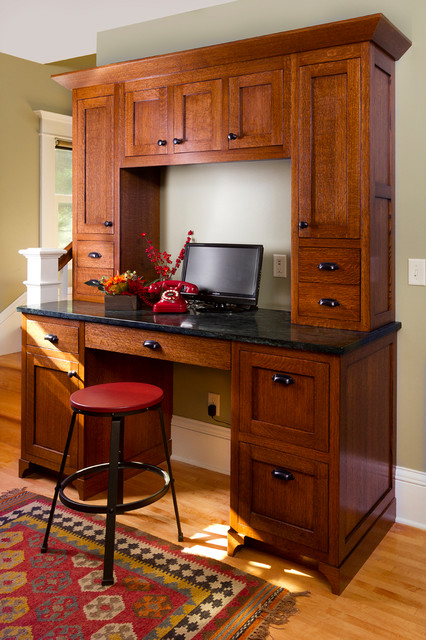 Computer Hutch Home Office Craftsman with Area Rug Arts and Crafts Bungalow Computer Dark Hardware