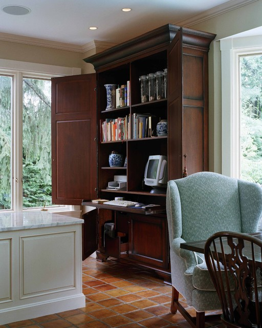 computer hutch Home Office Traditional with armoire closet office crown molding tile flooring wardrobe white