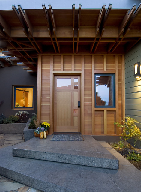 concrete-stepping-stones-Entry-Contemporary-with-covered-entry-custom-door -Custom-Woodwork-entry-natural-wood & concrete-stepping-stones-Entry-Contemporary-with-covered-entry ...