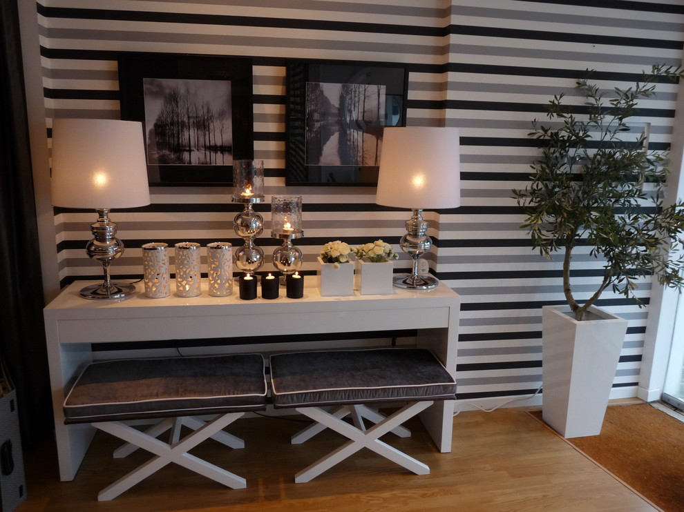 Console Table Ikea Hall Contemporary with Artwork Benches Black Candles Gray Horizontal Stripes