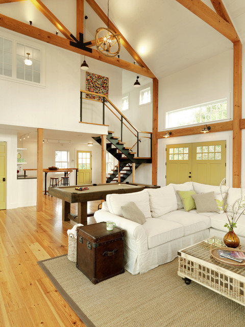 Convertible Couch Family Room Farmhouse with Barn Barn Home Clerestory Window Converted Barn Great Room