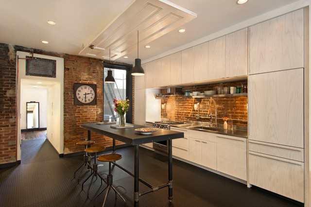 Coo Coo Clocks Kitchen Industrial with Clock Condo Diamond Plate Floor Door on Ceiling Exposed