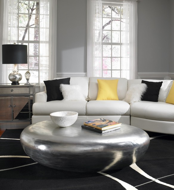 Coo Coo Clocks Living Room Contemporary with Area Rug Black Fur Gray Walls Metallic Coffee Table